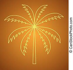 vetorial, palma, árvore., silueta, ilustração