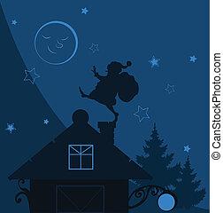 vetorial, papai noel, telhado, ilustração