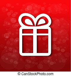 vetorial, papel, christmas branco, presente, com, arco, -, fita, experiência vermelha