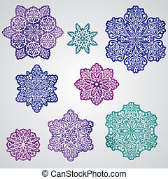 vetorial, papel, corte, aquarela, snowflakes