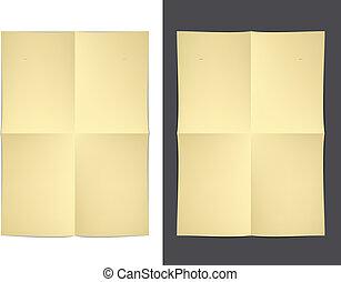 vetorial, papel, dobrado, amarela