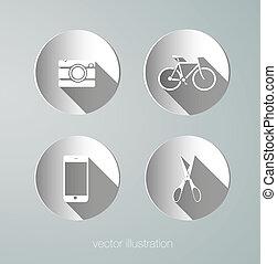 vetorial, papel, hipster, ícones