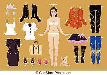 vetorial, papel, ilustração, boneca