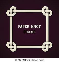 vetorial, papel, nó, quadro, fundo