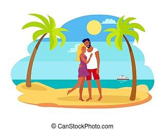 vetorial, par abraçando, outro, ilustração, cada