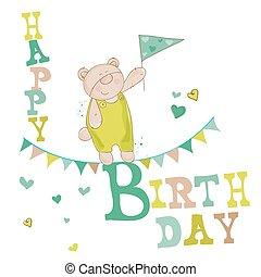 vetorial, parabéns, -, urso, convite, aniversário, bebê, cartão