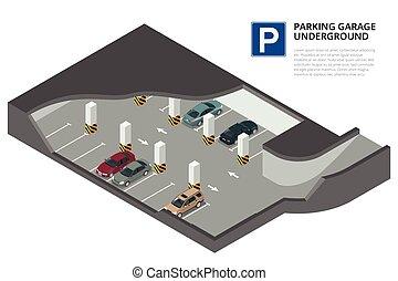 vetorial, park., cars., estacionamento, service., infographic., 3d, isometric, indoor, subterrâneo, car, ilustração, urbano, apartamento