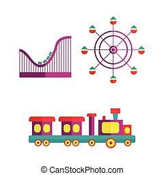 vetorial, parque divertimento, objetos, ícone, jogo