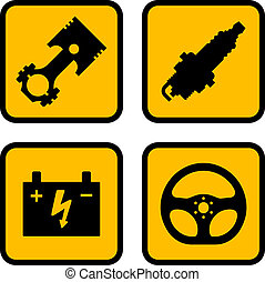 vetorial, parte carro, símbolos