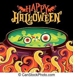 vetorial, partido halloween, convite, cartaz, feiticeira, cauldron
