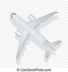 vetorial, passageiro, conceito, jato, topo, comercial, isolado, ilustração, alto, avião., checkered, detaled, linha aérea, fundo, vista., plane., avião, viagem