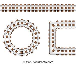 vetorial, passageiro, elementos, transporte, branca, trilho, isolado, ilustração, ou, experiência., trilhas, trem, desenho, maneira, linha estrada ferro, escova, ferrovia
