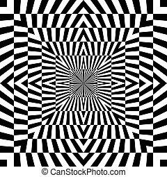 vetorial, pattern., seamless, óptico, fundo, monocromático, ilusão
