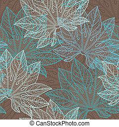 vetorial, pattern), (seamless, leaves., ilustração