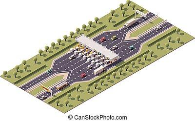 vetorial, pedágio rodovia, portão