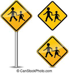 vetorial, pedestres, sinais