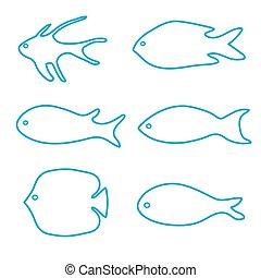 vetorial, peixe, jogo, silhouettes-, ilustração