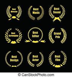vetorial, película, recompensas, ouro, distinção, grinaldas,...