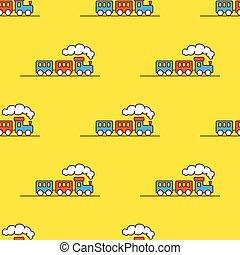 vetorial, pequeno, brinquedo, pattern., seamless, caricatura, experiência., trem, vapor