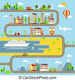 vetorial, pequeno, cityscape, cidade, ilustração