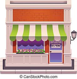 vetorial, pequeno, loja, ícone