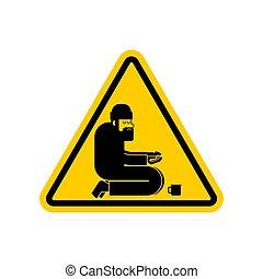 vetorial, perigo, beggars., atenção, poor., cautela, sinal estrada, homeless., amarela, vagabundo, ilustração, hobo
