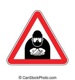 vetorial, perigo, beggars., atenção, poor., cautela, sinal estrada, vermelho, homeless., vagabundo, ilustração, hobo