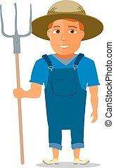 vetorial, personagem, caricatura, pitchfork., agricultor