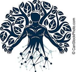 vetorial, personagem, feito, natureza, eco, místico, wireframe, árvore, leaves., malha, conexões, balance., human, ecologia, ciência, interação, tecnologia, indivíduo