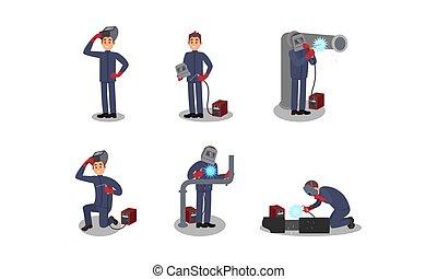 vetorial, personagem, soldador, equipamento, soldadura, ilustrações, trabalhando