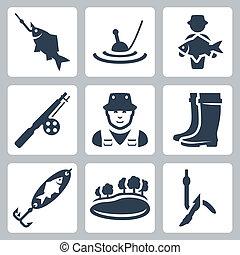 vetorial, pesca, ícones, set:, peixe, ligado, um, gancho, flutuador, peixe grande, cana de pesca, pescador, vadeando carregadores, spoon-bait, lago, verme, ligado, um, gancho