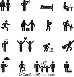 vetorial, pessoas, ícones