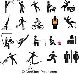 vetorial, -, pessoas, ícones