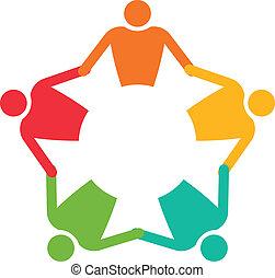 vetorial, pessoas, 5., trabalho equipe, segurando, círculo, hands., ícone