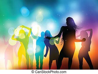 vetorial, pessoas, dançar
