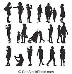 vetorial, pessoas., jogo, silueta, illustration.