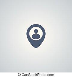 vetorial, pessoas, localização, ícone