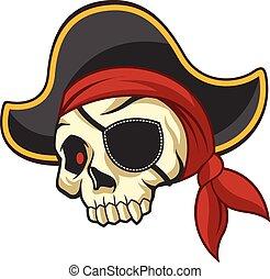 vetorial, pirata, ilustração, cranio