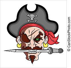 vetorial, pirata, ilustração, mascote
