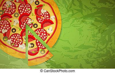 vetorial, pizza., ilustração