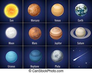 vetorial, planetas, sistema, isolado, fundo, pretas, solar, illustration.
