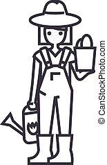 vetorial, planta, mulher, golpes, aguando, editable, ilustração, sinal, fundo, lata, ícone, linha, jardineiro
