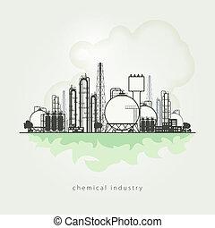 vetorial, planta química, recursos, natural, manufatura,...