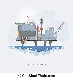 vetorial, plataforma óleo, ilustração, mar
