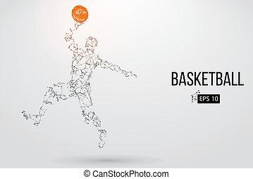 vetorial, player., basquetebol, silueta, ilustração