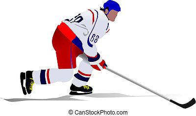 vetorial, players., hóquei, ilustração, gelo