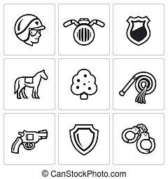 vetorial, polícia, jogo, rua, icons.