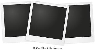 vetorial, polaroid, foto, ligado, cinzento, backg