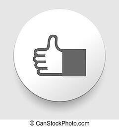 vetorial, polegar cima, ícone