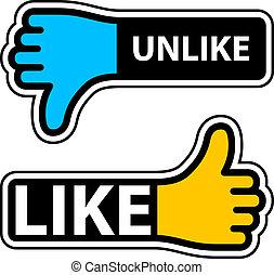 vetorial, polegar, semelhante, unlike, etiquetas
